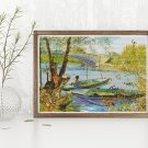 Fishing in the Spring Cross Stitch Chart by Vincent Van Gogh
