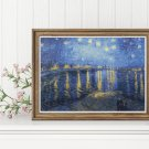 Starry Night over the Rhone Cross Stitch Chart by Vincent Van Gogh