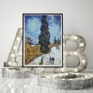 Country Road in Provence Night Cross Stitch Chart by Vincent Van Gogh