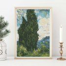 Cypresses Cross Stitch Chart by Vincent Van Gogh