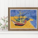 Boats on a Beach Cross Stitch Kit by Vincent Van Gogh