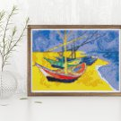 Boats on a Beach Cross Stitch Chart by Vincent Van Gogh (MINI)