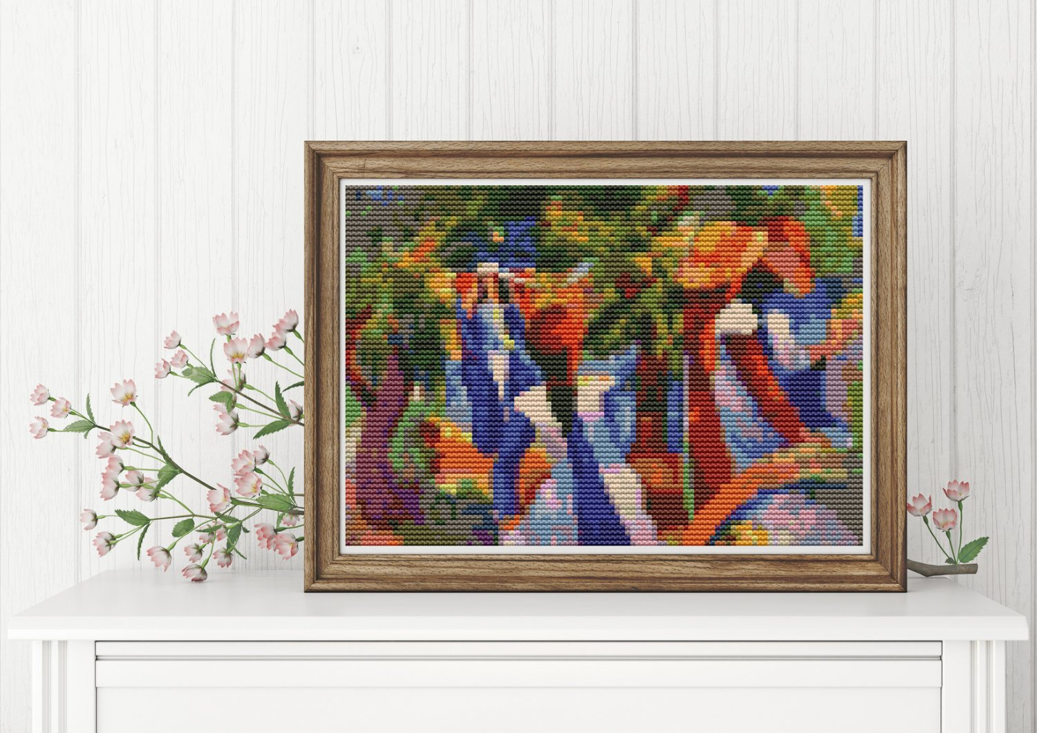 Girl Under the Trees Cross Stitch KIT by August Macke (MINI)