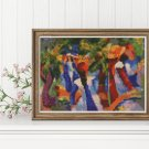 Girl Under the Trees Cross Stitch Chart by August Macke (MINI)