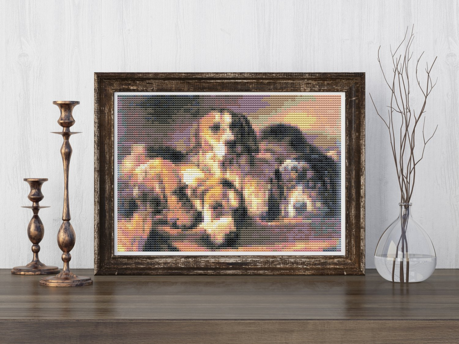 French Hounds Cross Stitch Chart by Benno Raffael Adams (MINI)