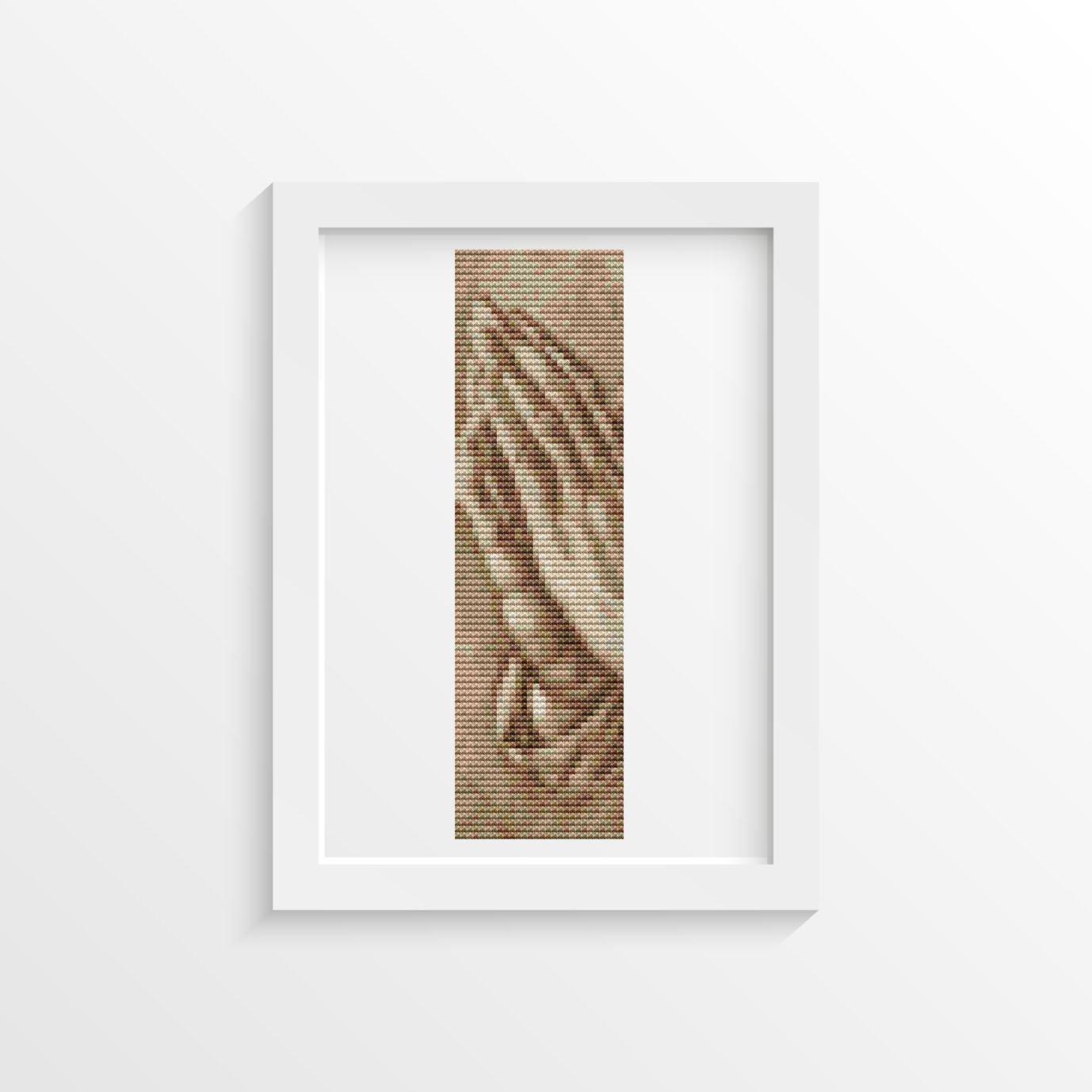 Praying Hands In Sepia Cross Stitch Chart by Albrecht Dürer (BOOKMARK)