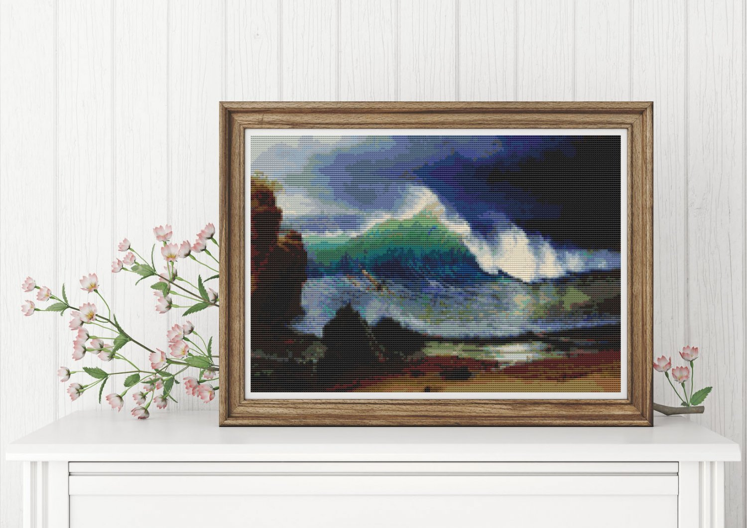 The Shore of the Turquoise Sea Cross Stitch Chart by Albert Bierstadt