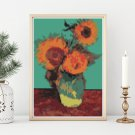 Vase with Three Sunflowers Mini Cross Stitch Kit by Vincent Van Gogh