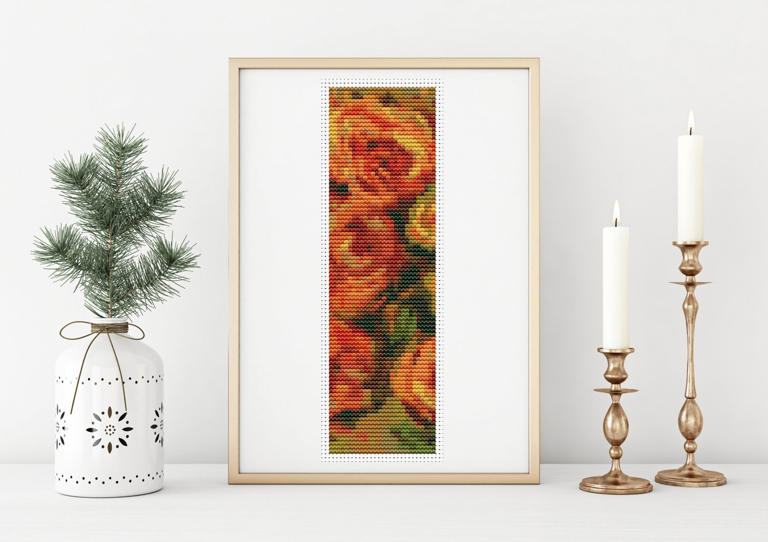 Armful of Roses Bookmark Cross Stitch Kit by Pierre-Auguste Renoir
