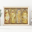 The Times of the Day Cross Stitch Kit by Alphonse Mucha