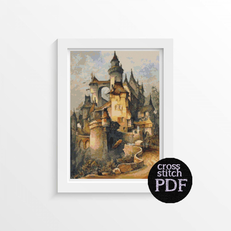Romantic Castle Cross Stitch Pattern PDF by Hanns Bolz
