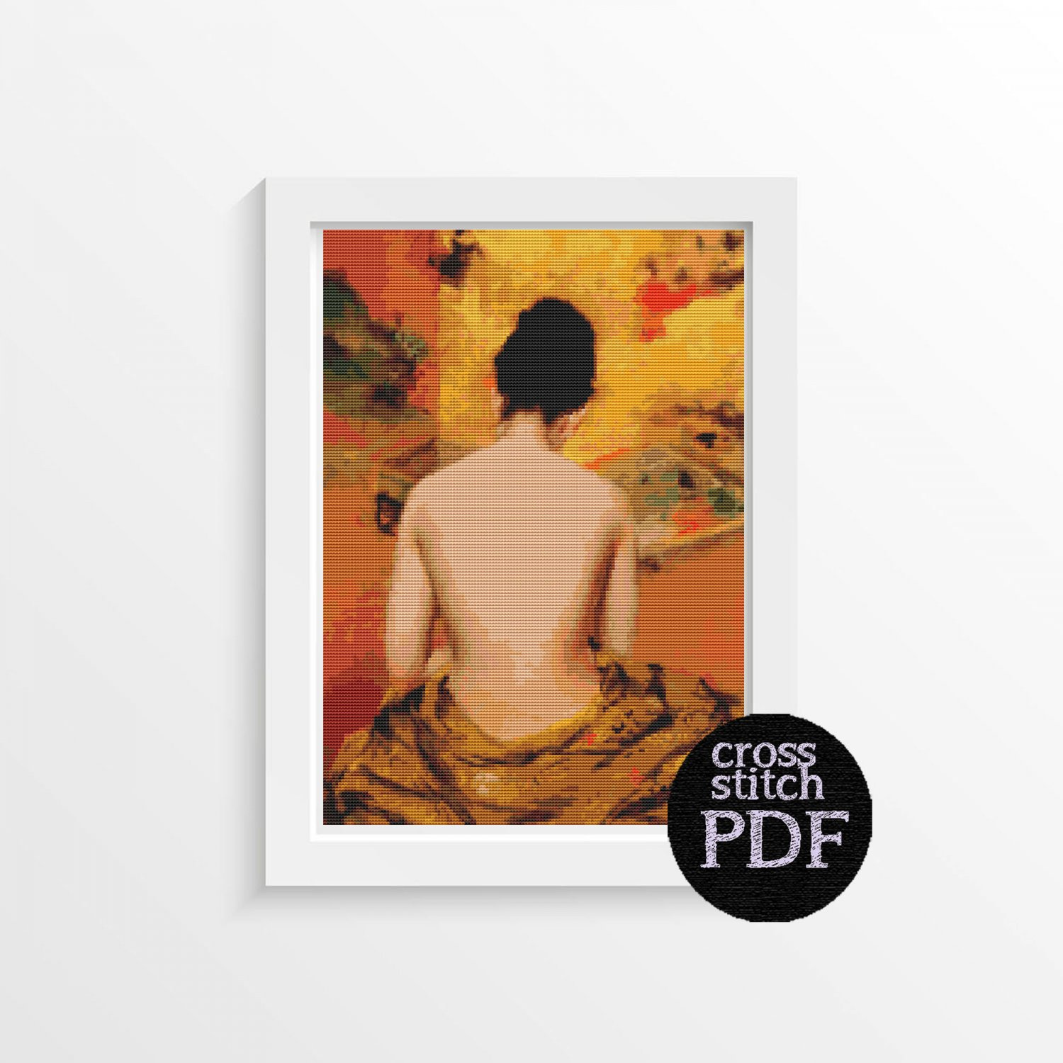 Back of a Nude Cross Stitch Pattern PDF by William Merritt Chase