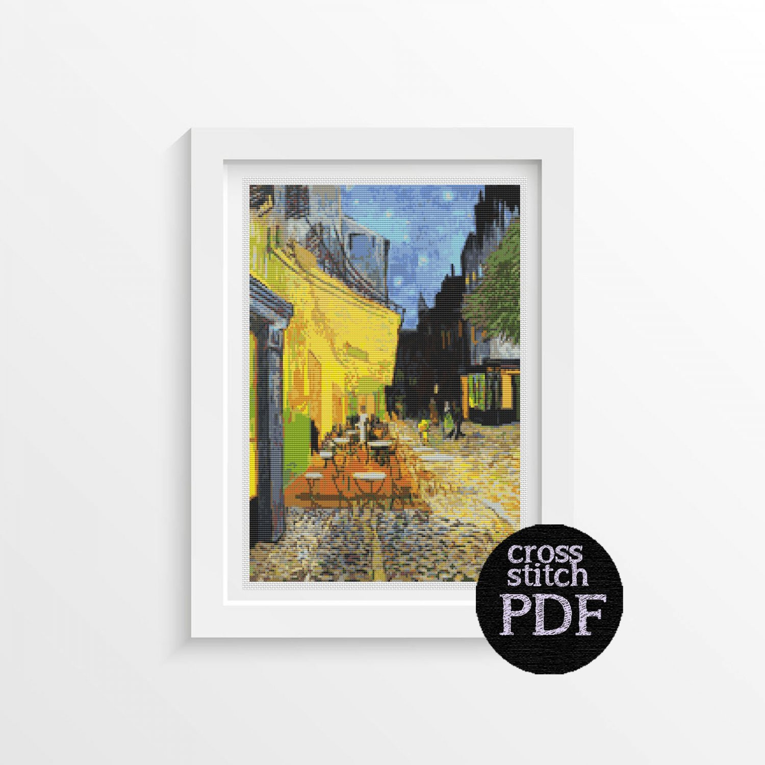 Cafe Terrace at Night Cross Stitch Pattern PDF by Vincent Van Gogh