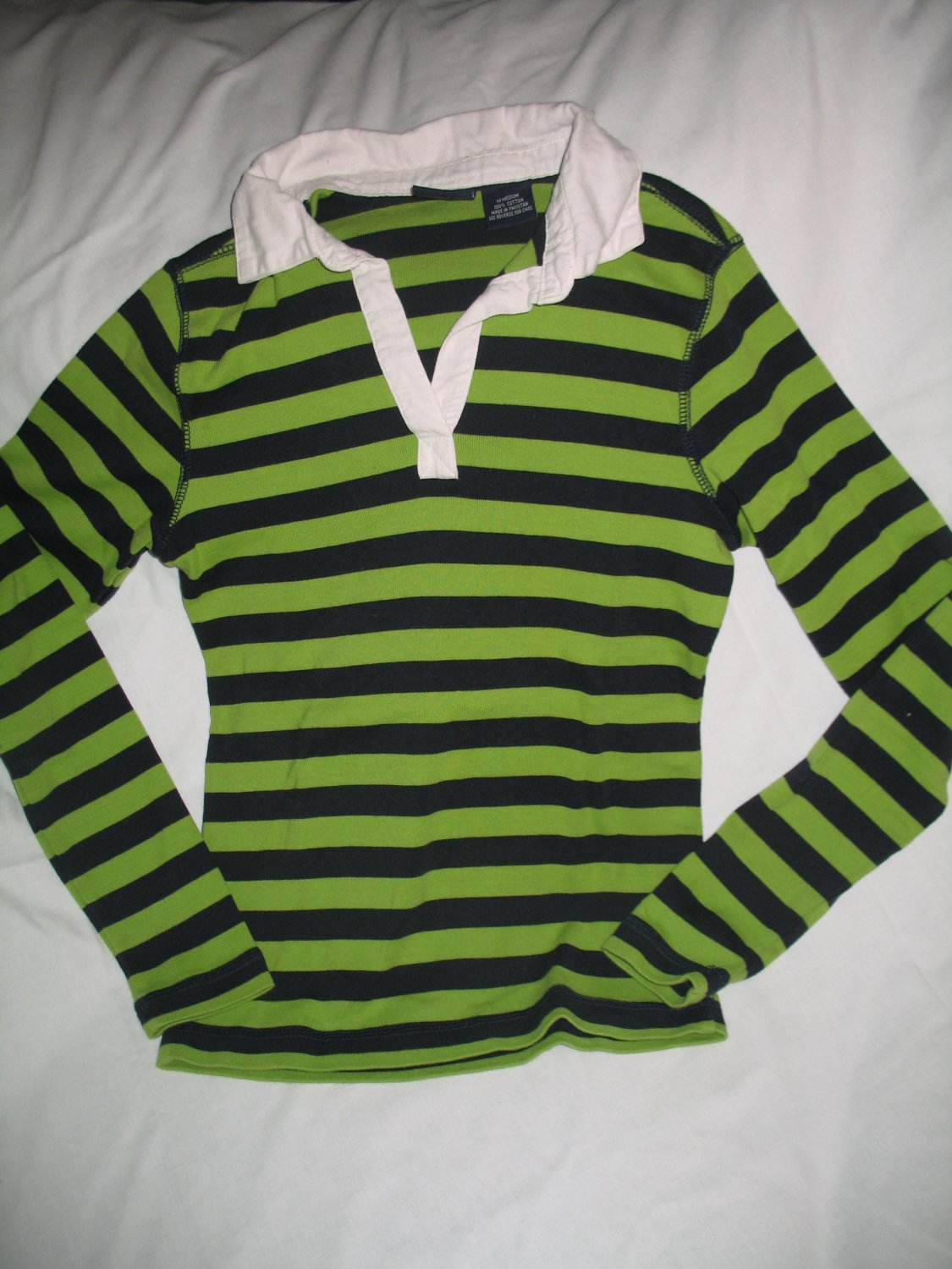 Size M Ladies Women 39 S Rugby Polo Green And Navy Striped