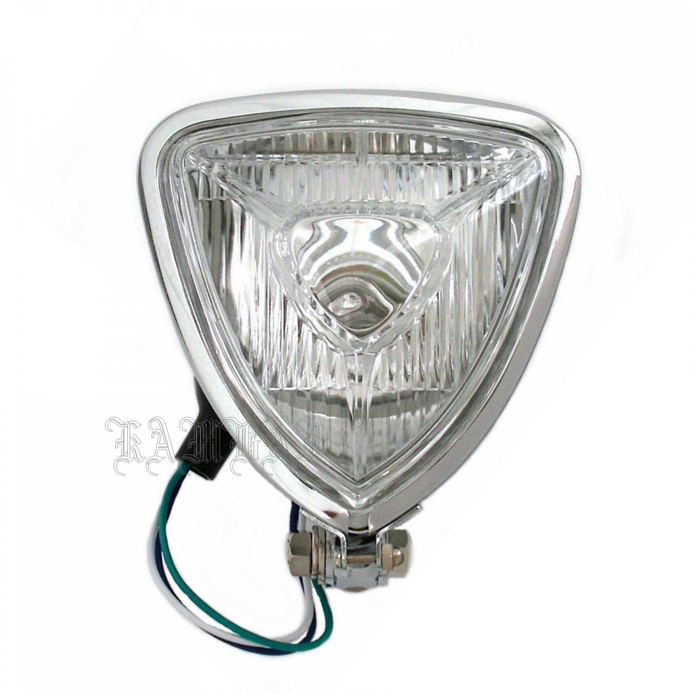 "Motorcycle Headlight Triangle 5 1/2"" Head Lamp Triangle Universal Metal Chromed"