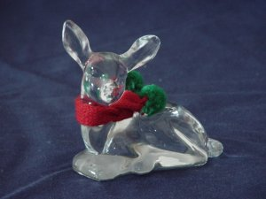 Fenton Crystal Holiday Fawn with knitted scarf & gift box