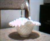 Fenton Silver Crest hobnail Basket, Early 1990's Mint