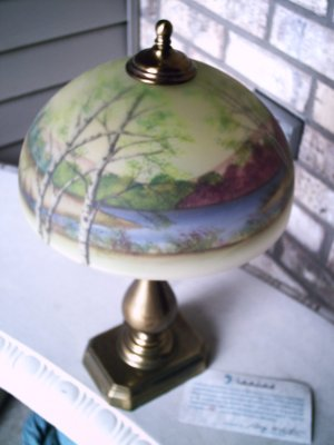 Fenton Handel Style Lamp 02780CX Trees, Reverse Painted