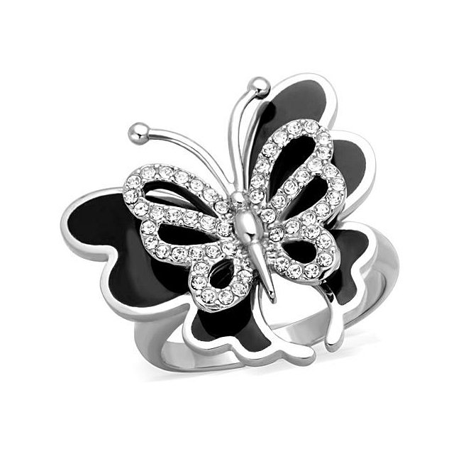 Beautiful Crystal Butterfly Ring ~ Stainless Steel