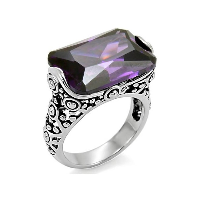 Ornate Rectangle CZ Amethyst Ring ~ Stainless Steel