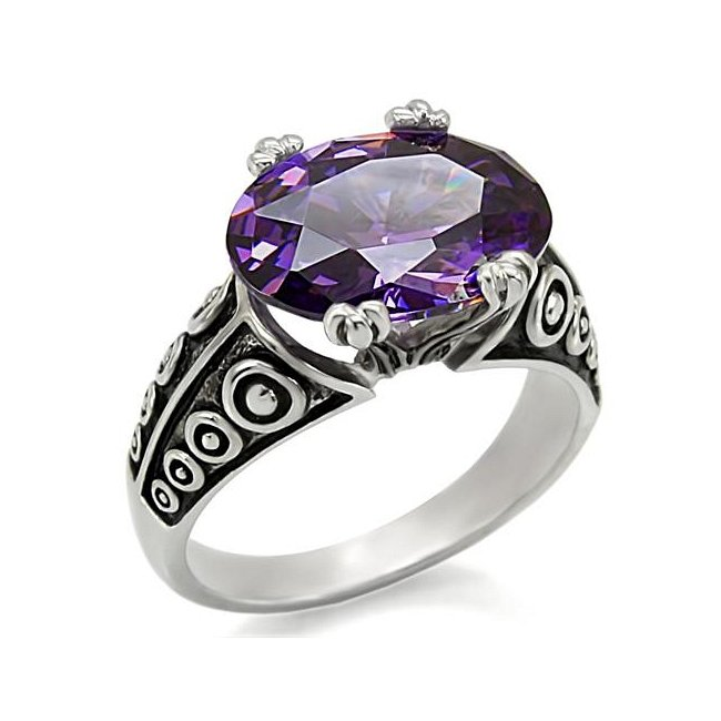 Ornate Oval CZ Amethyst Ring ~ Stainless Steel