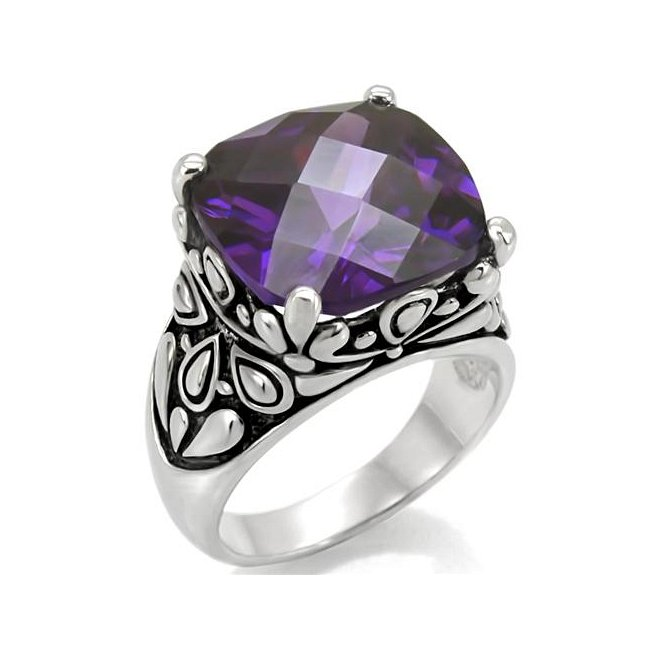 Ornate Cushion Cut CZ Amethyst Ring ~ Stainless Steel