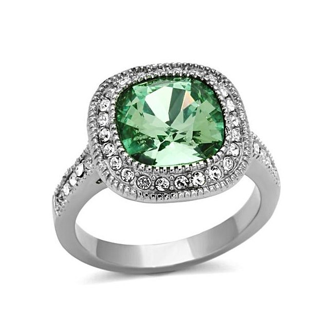 Cushion Cut Crystal Emerald Ring ~ Stainless Steel