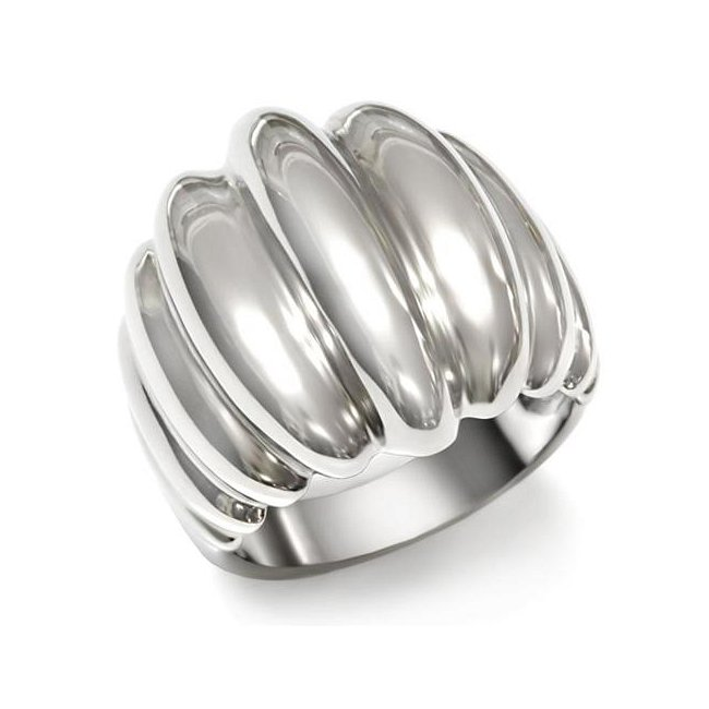 High Fashion Ribbed Band Ring ~ Stainless Steel