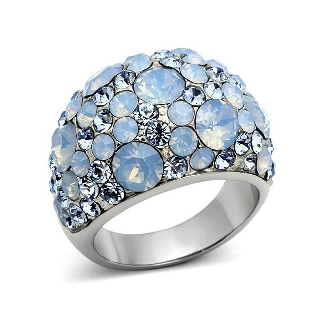 Aqua Blue Crystal Dome Ring ~ Stainless Steel