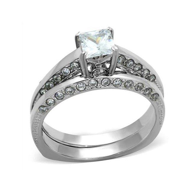 Beautiful CZ Engagement / Wedding Set ~ Stainless Steel