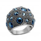 Montana Blue Vintage Crystal Ring ~ Stainless Steel
