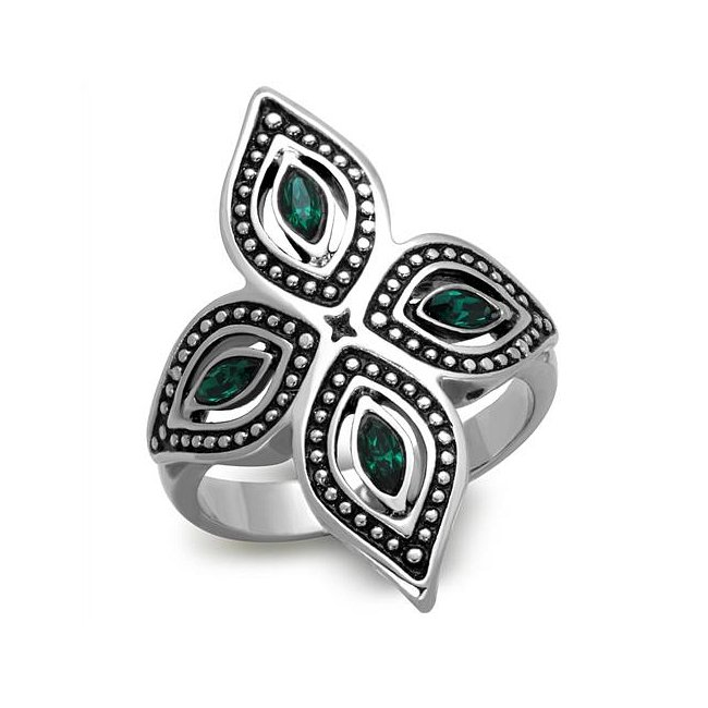 Crystal Emerald Flower Ring ~ Stainless Steel