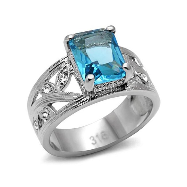 Lovely Aqua Cubic Zirconia Blue Ring ~ Stainless Steel
