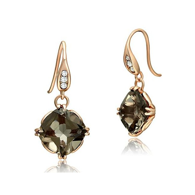 Ion Rose Gold Plated Synthetic Smoky Quartz Dangle Earrings ~ Stainless Steel