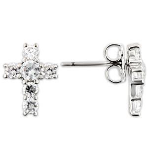 Beautiful Cubic Zirconia Cross Earrings ~ Sterling Silver