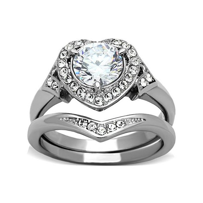 CZ Heart Engagement / Wedding Ring Set ~ Stainless Steel