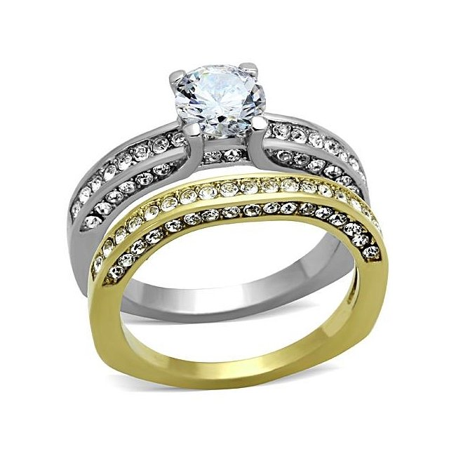 Stunning Two-Tone Pave CZ Engagement / Wedding Ring Set ~ Stainless Steel