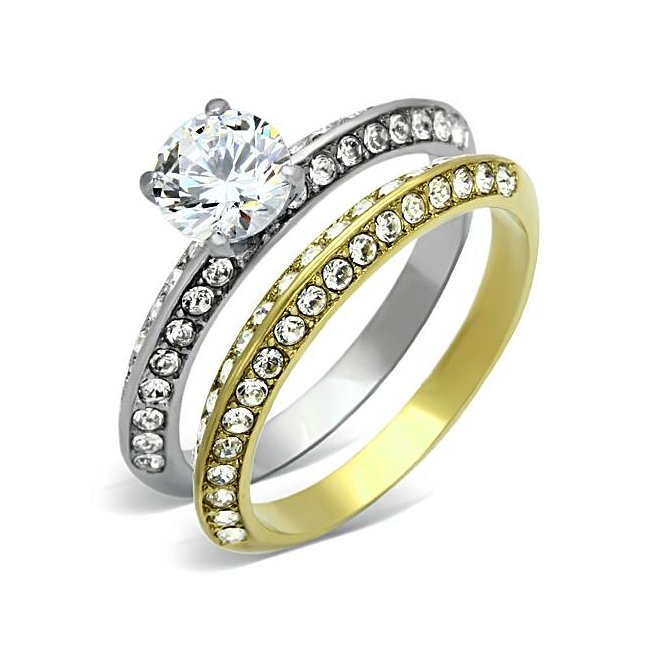 Classic Two-Tone (Gold & Silver) Pave Engagement Wedding Ring Set ~ Stainless Steel