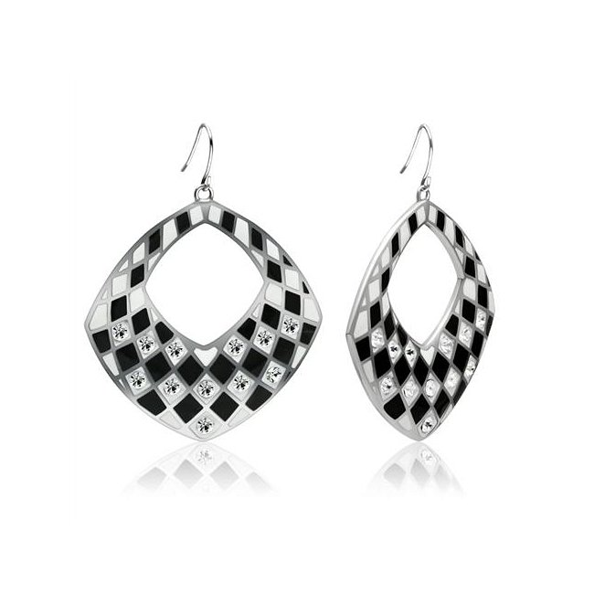 Fashionable Black High Polish Crystal Earrings ~ Stainless Steel