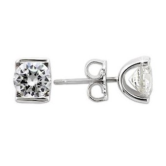 Gorgeous Cubic Zirconia Stud Earrings ~ Sterling Silver