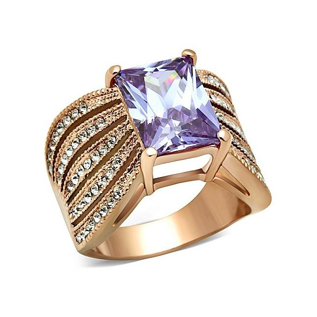 Ion Rose Gold Plated Amethyst CZ Ring ~ Stainless Steel