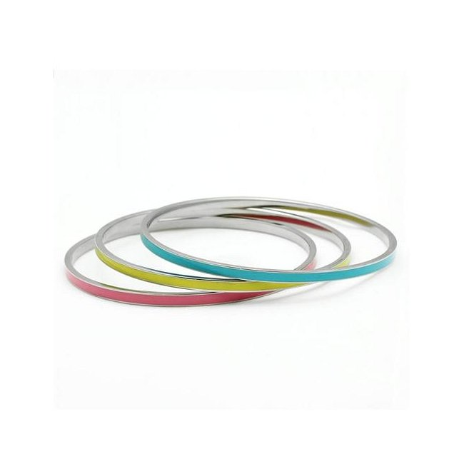 Pink / Yellow / Blue High Fashion Bangle Bracelets ~ Stainless Steel