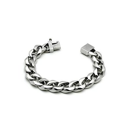Unisex Large Silver Link Classic Bracelet ~ Stainless Steel