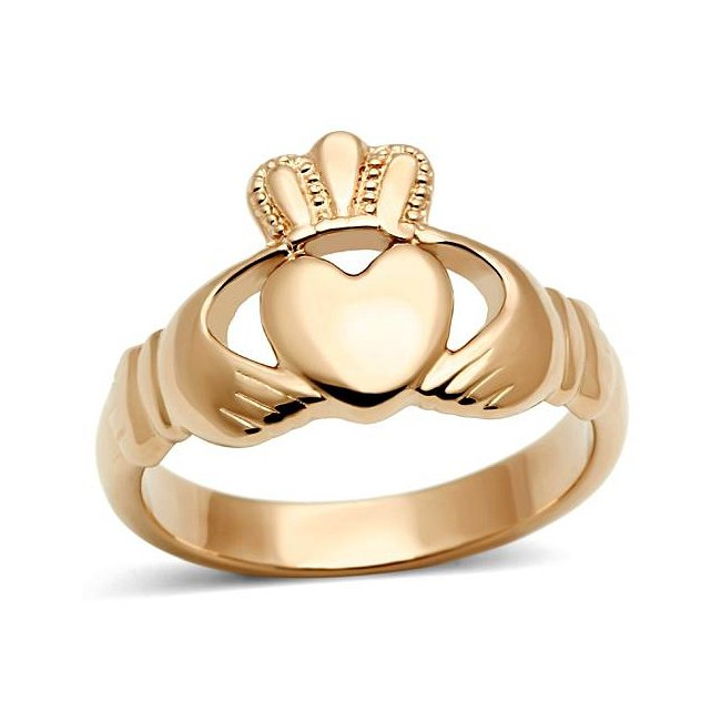 Lovely Ion Rose Gold Plated Claddagh Ring ~ Stainless Steel