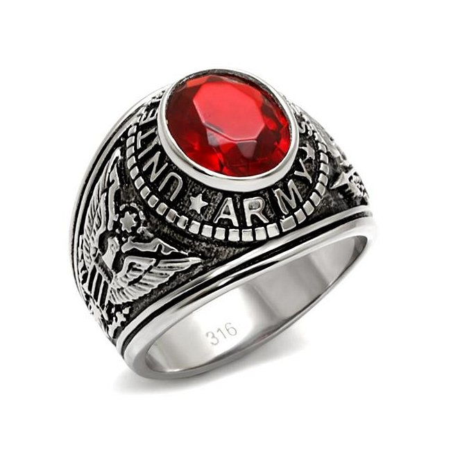 United States Army Siam Red Military Ring ~ Stainless Steel