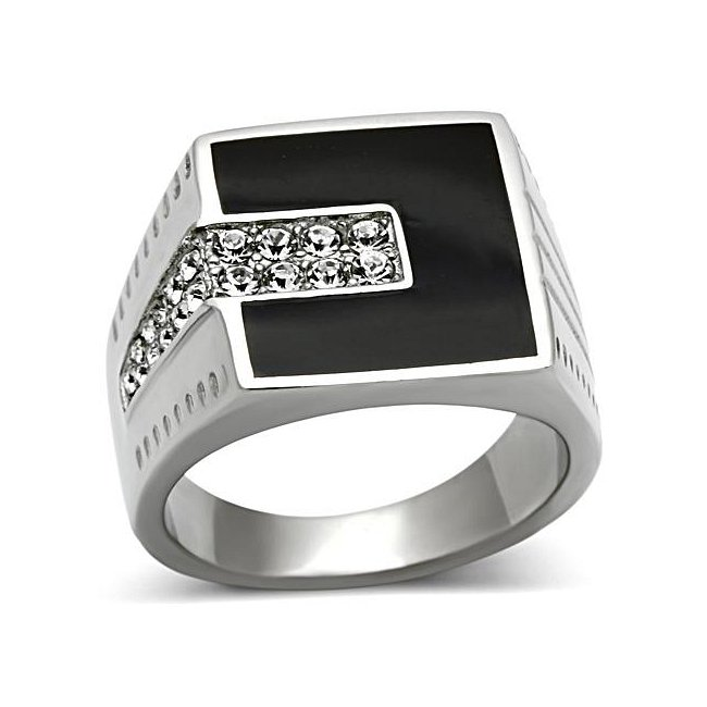 Black & Top Grade Crystal Square Ring ~ Stainless Steel