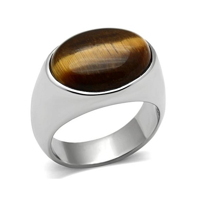 Synthetic Cat's Eye Ring ~ Stainless Steel