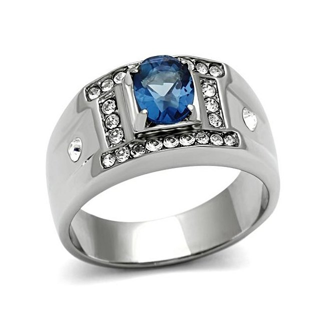 Synthetic Sapphire Ring ~ Stainless Steel