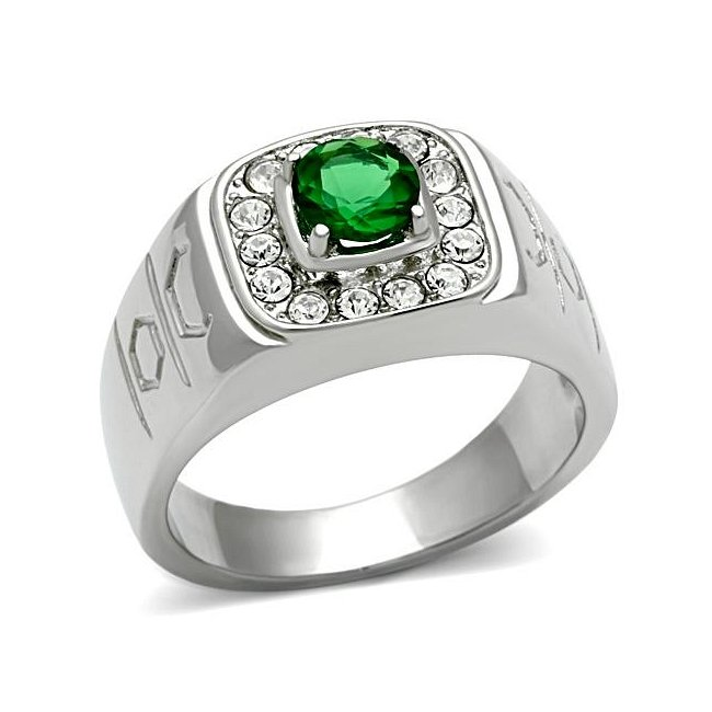 Synthetic Glass Emerald Ring ~ Stainless Steel