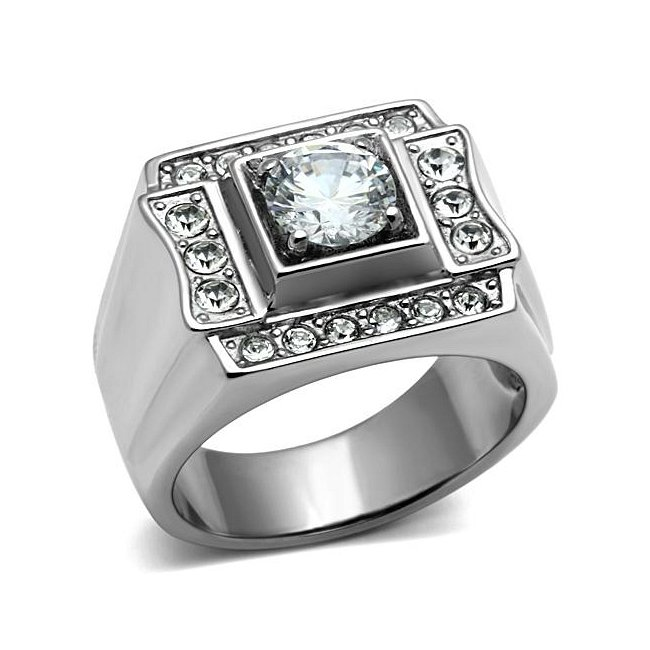 1.25 Carat Cubic Zirconia Ring High Polish ~ Stainless Steel